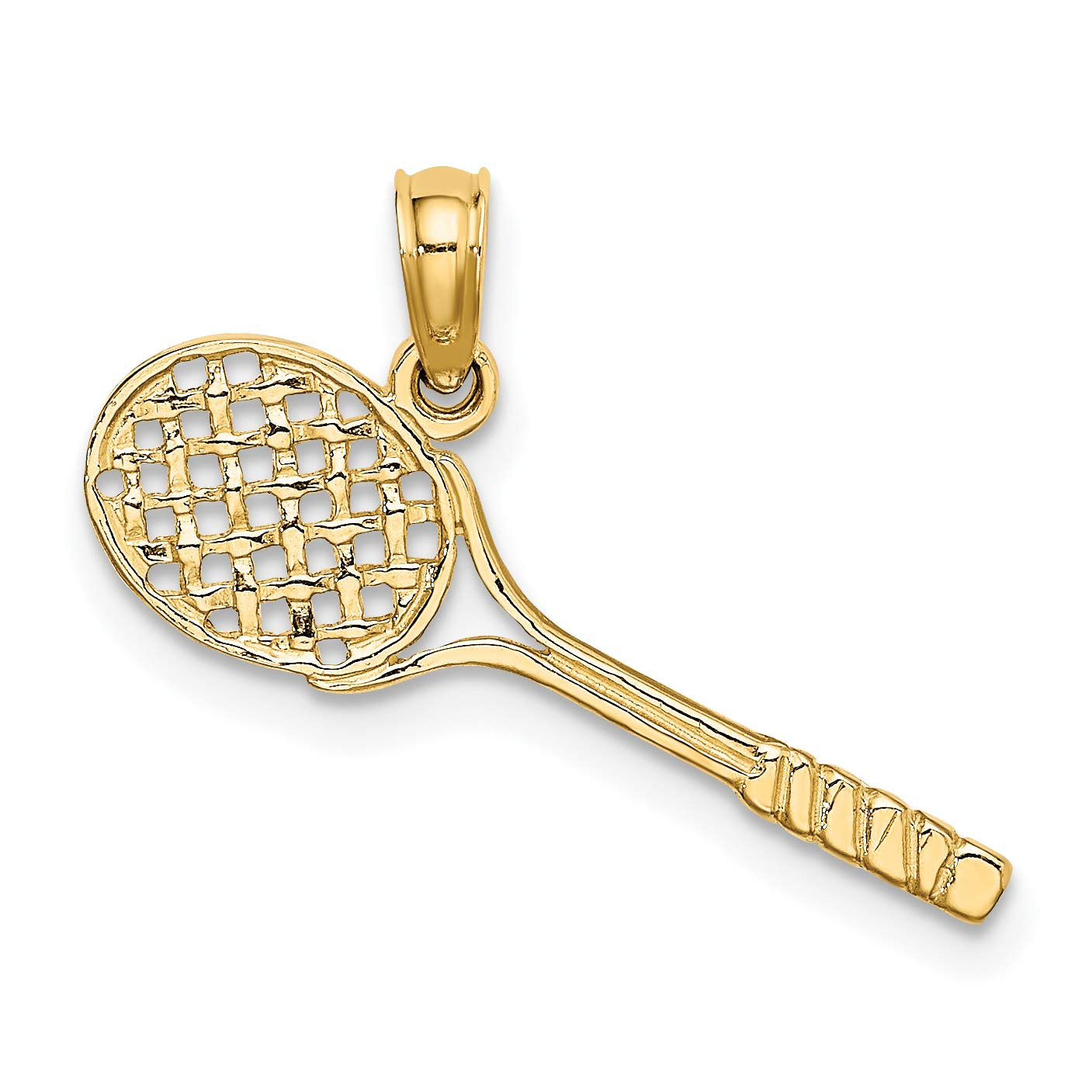 Solid 14k Yellow Gold Polished Tennis Racquet Shaped Pendant 7x23mm