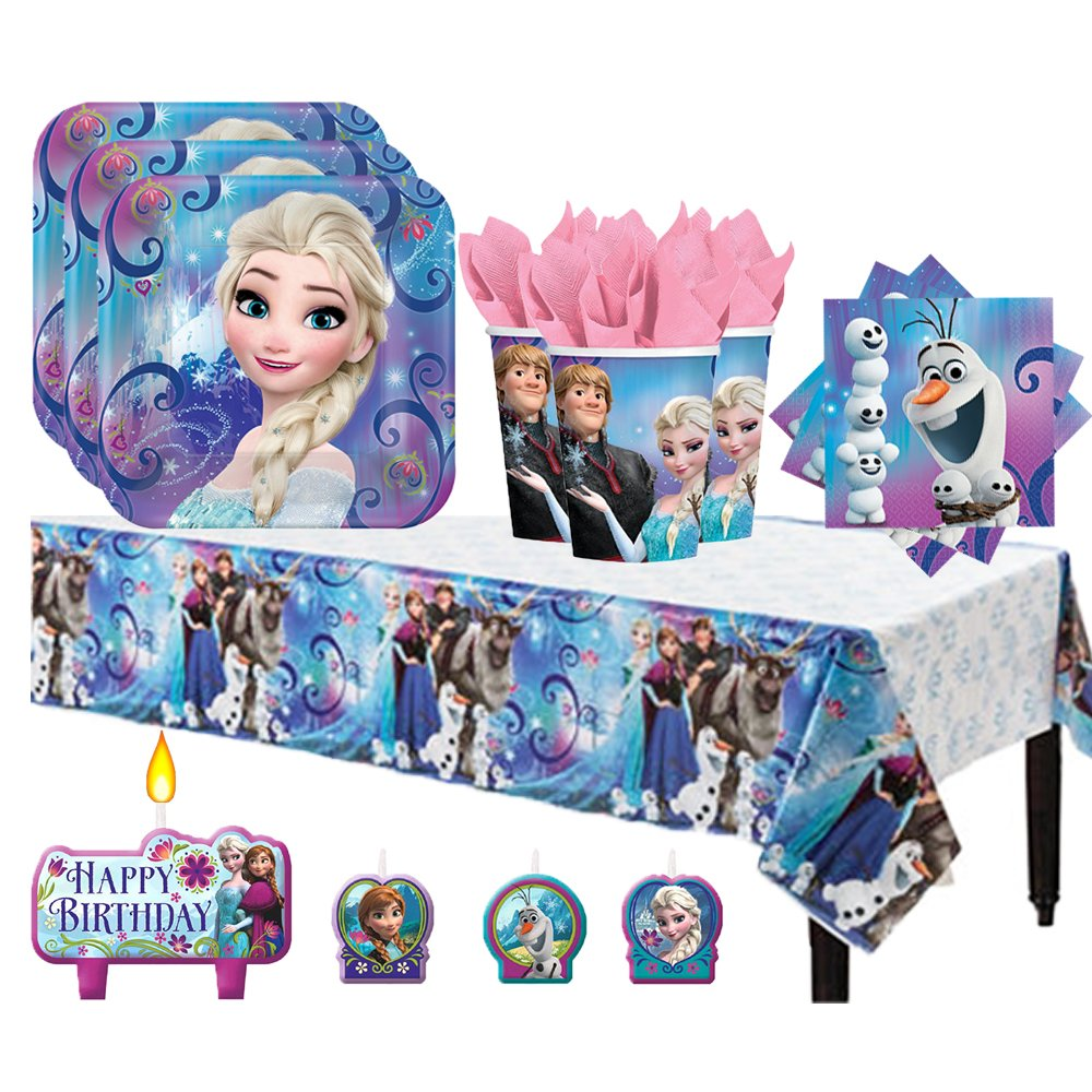 Another Dream Frozen Birthday Party Pack for 16 with Plates, Napkins, Cups, Tablecover, and Candles by Another Dream