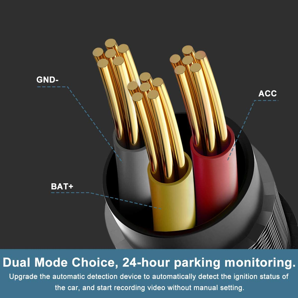 16Pin OBDII Adapter Hardwire Charger Cable 12-26V to 5V Mini USB Port OBD2 Power Cable for Dash Camera 24 Hours Surveillance//Acc Mode with Switch Button 【2 Pack】 OBD Power Cable