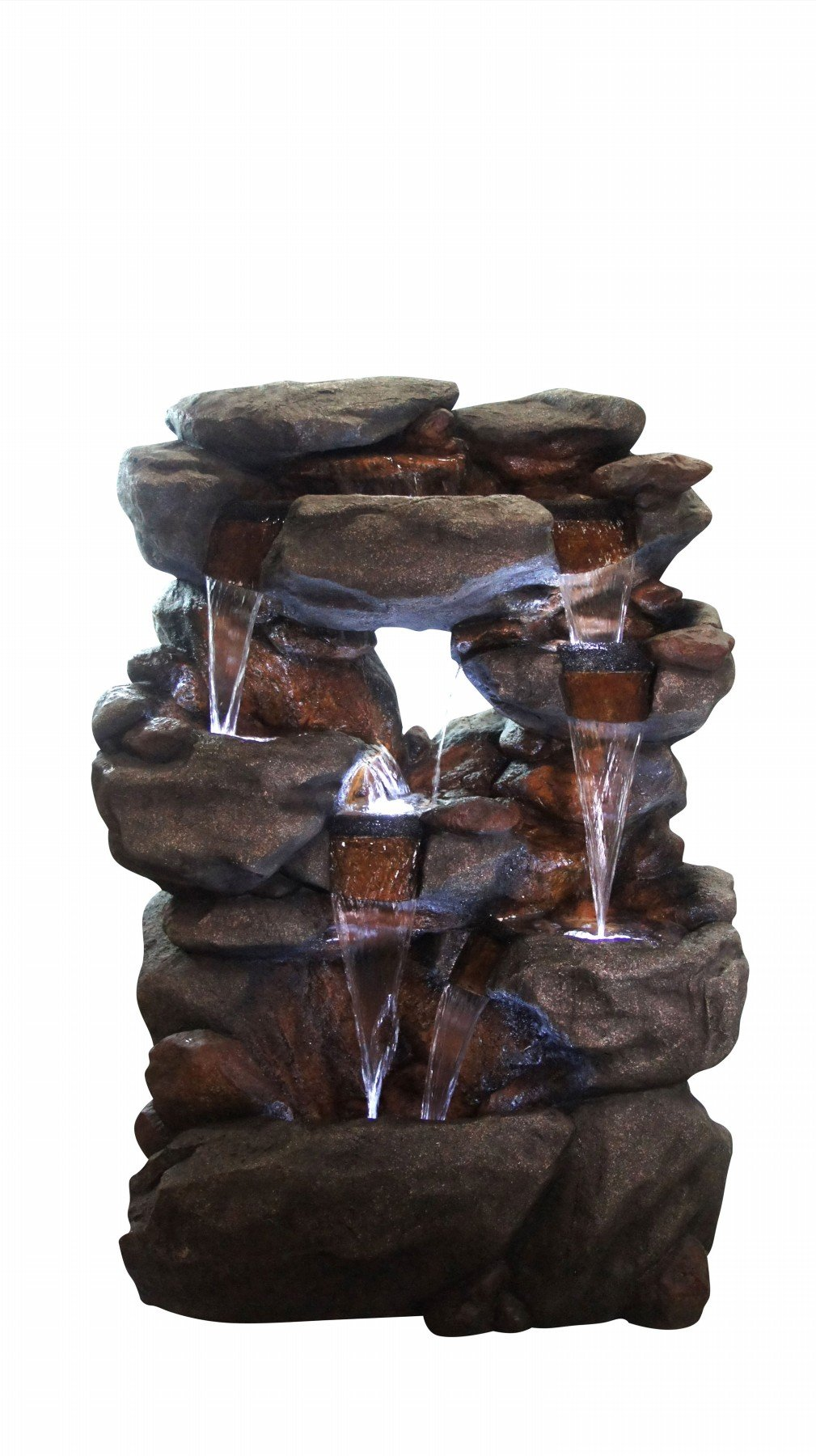 Alpine Corporation WIN1068 Polyresin 5 Tier Rock Fountain With 6 White LED Lights
