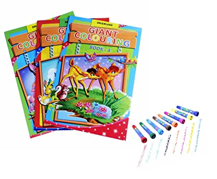 COI Kids Birthday Return Gift Set Of 3 Giant Colouring Books With Roller Stamp Marker For School Going Boys Girls On A Cloudtail Amazonin Office