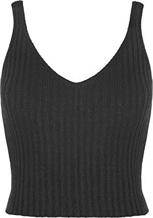 New Ladies V Neck Crochet Knitted Ribbed Bralet Sleeveless Belly Crop Top Womens