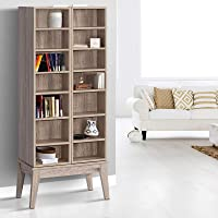 Artiss CD/DVD Rack Wooden Visible and Hidden Adjustable Bookshelf Multimedia Display Cube Shelves, Oak