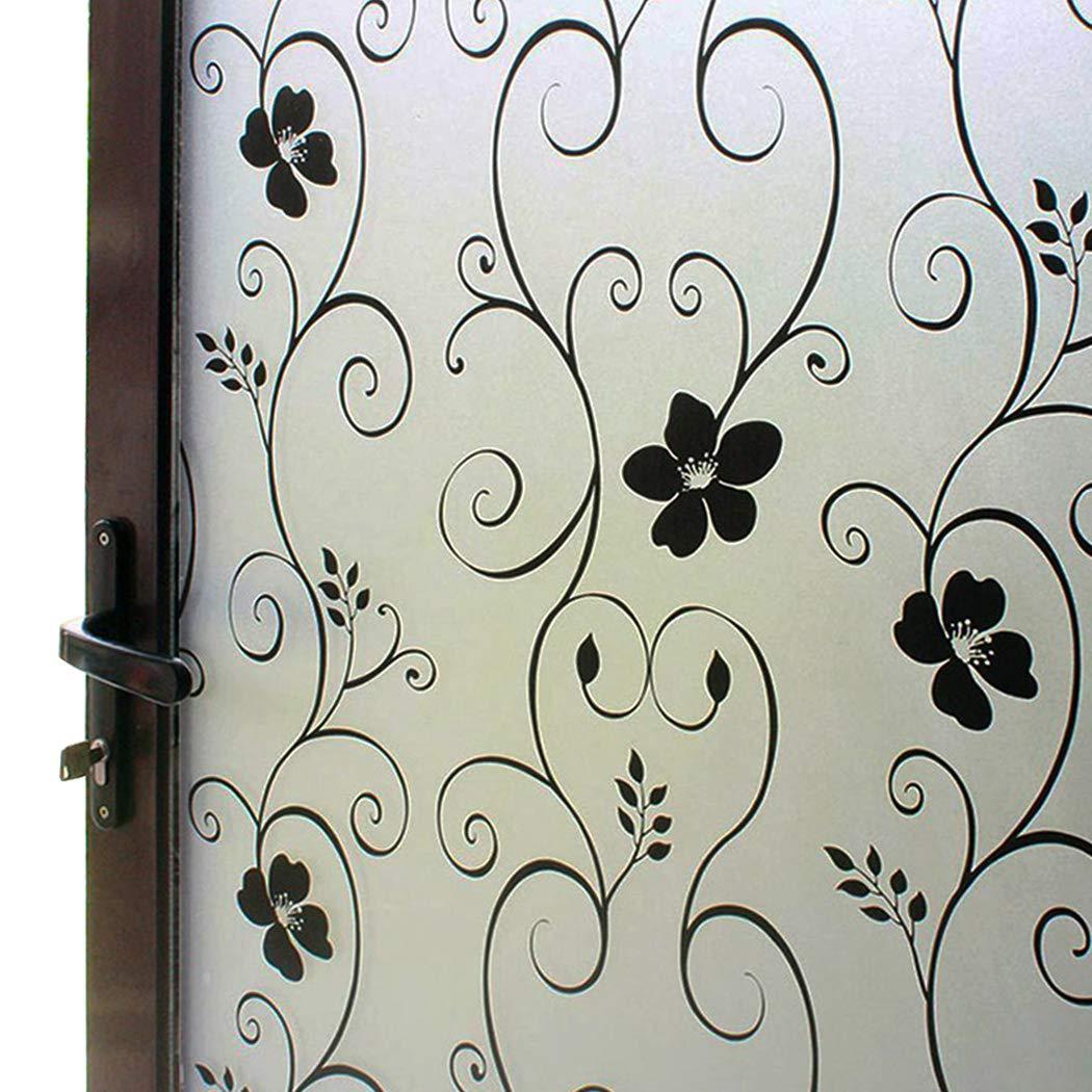 DUOFIRE Window Film Black Flower Pattern Privacy Window Film Frosted Glass Film No Glue Static Cling Glass Film Anti-UV Window Sticker For Bathroom Bedroom Living Room 23.6in. x 78.7in. DP014B