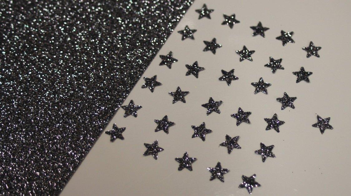 appliqué 30 étoiles 1cm Flex thermocollant GLITTER BLACK SILVER SAFIRMES