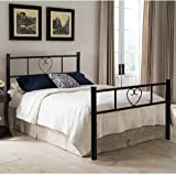 EGGREE Single Bed Solid 3Ft Metal Beds Frame Heart-Shaped with Large Storage Space For Children or Adults, Black