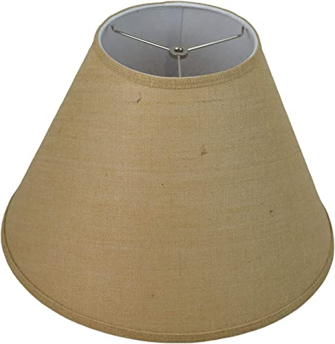 FenchelShades.com 8 Top Diameter x 18 Bottom Diameter x 13 Slant Height Fabric Barrel Lampshade Spider Attachment Burlap Natural