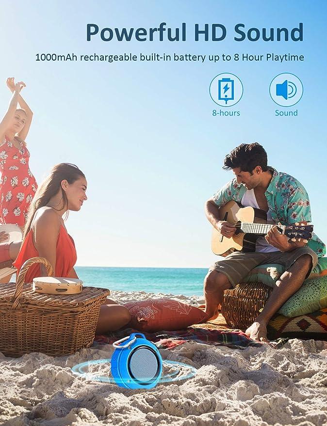 LENRUE Altavoces Bluetooth Ducha, Portátil Speaker IPX5 Impermeable Inalámbrico con Ventosa, HD Estéreo, Bass, 6 Horas de Reproducción, Mini Altavoz ...