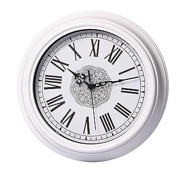 Foxtop 30 Cm Antik Uhr Wanduhr Weiss Rmische Zahlen Und Frontglas Abdeckung Fr Kche Wohnzimmer