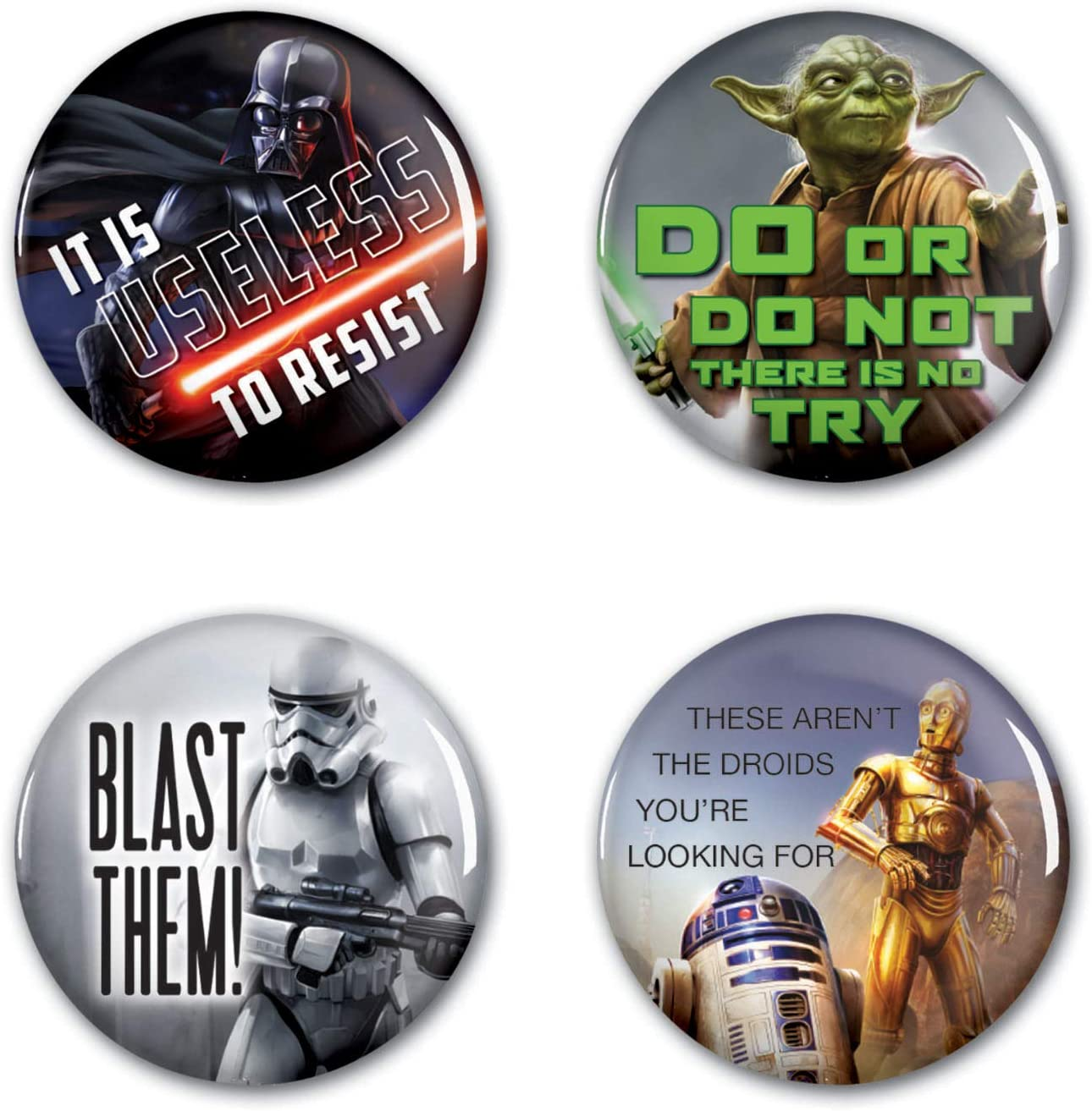 Multicolor NA WinCraft Star Wars Star Wars Star Wars 1 1//4 Rnd Button 4 PackWinCraft Star Wars 1 1//4 Rnd Button 4 Pack