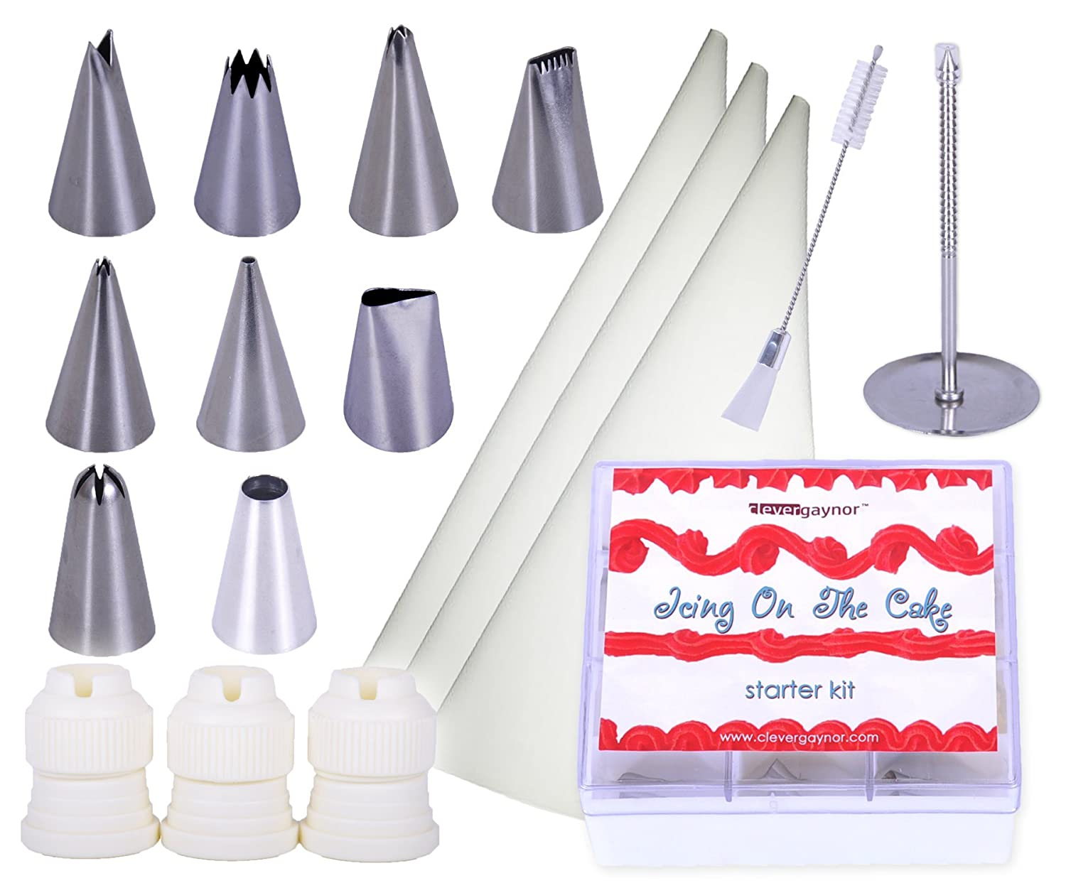 Cake Decorating Kit with Supplies - Edible Decor - Complete with Icing Bags and Cleaning Brush - Perfect to Add Icing To Cakes, Cupcakes, Cookies and Pastries - Decorate Like a Professional clevergaynor COMIN18JU019110