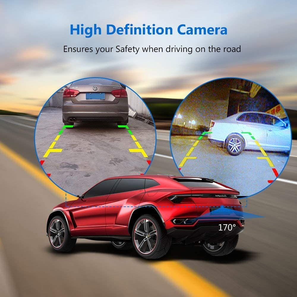 Vehicle Backup Camera,COOCHEER Rear View Camera Waterproof High Definition Color Wide Viewing Angle License Plate Car Camera with 18 Infrared Night Vision LED for Car SUV Van B