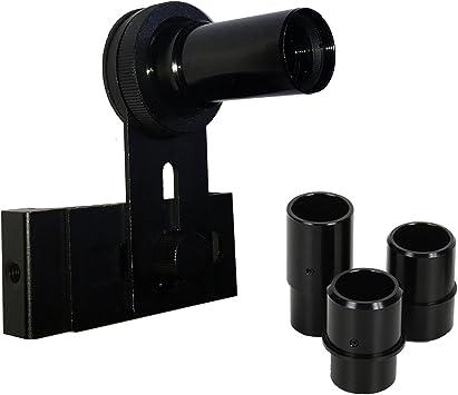 Soporte universal de adaptador para smartphone para lámparas y microscopios sesgado con 10 x Ocular y 3 mangas con diferentes diámetros integrada para Exact Fit.: Amazon.es: Electrónica
