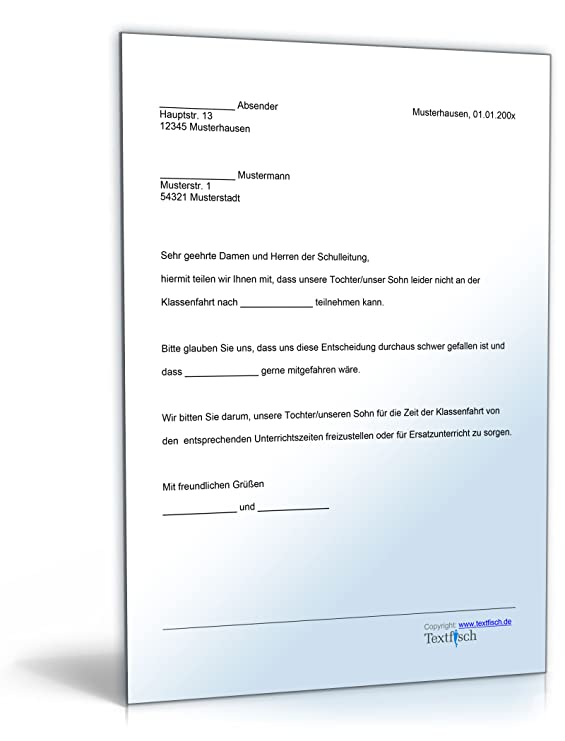Befreiung Teilnahme Klassenfahrt [Word Dokument]: Amazon.de: Software