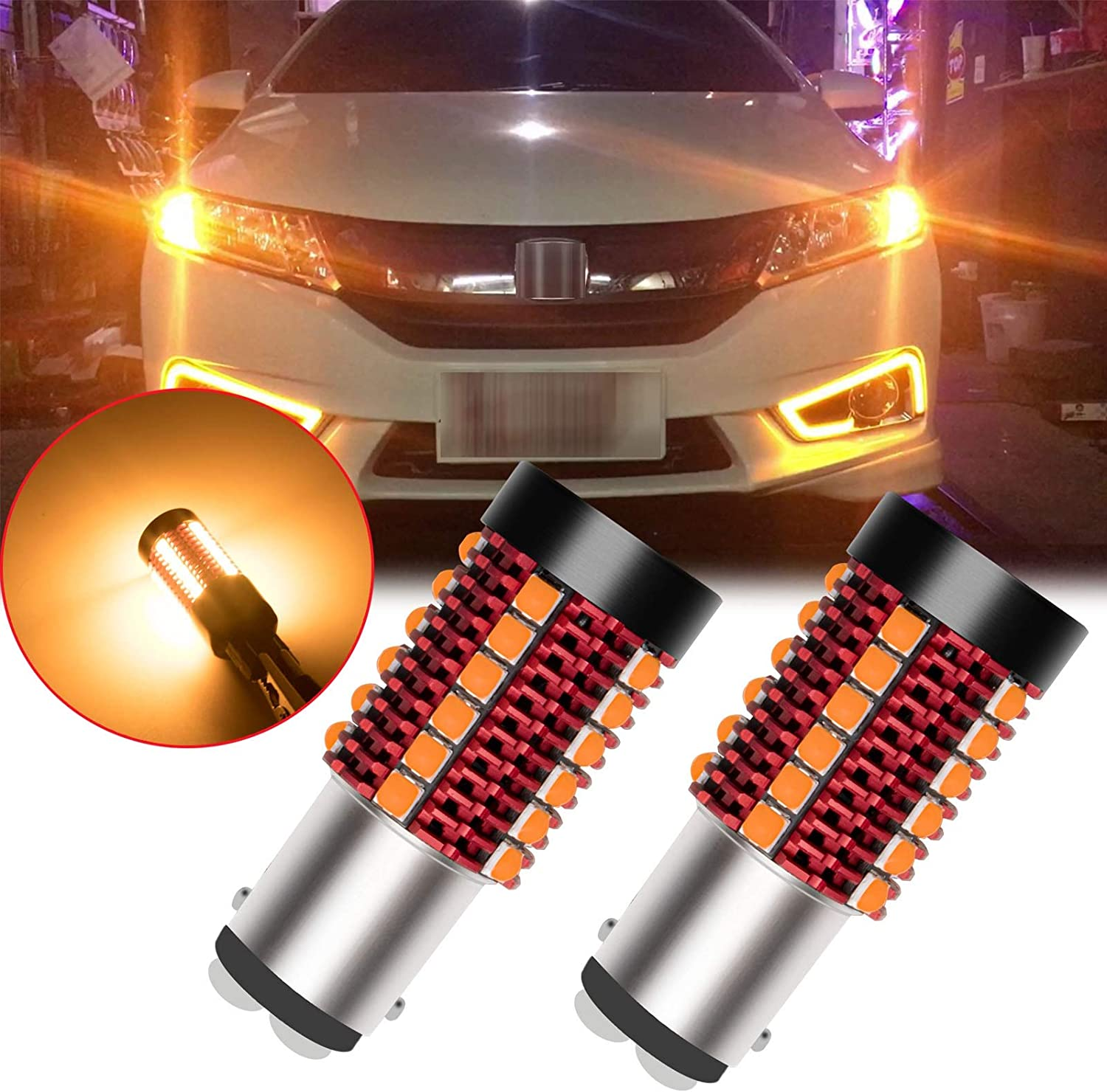 Built-in Load Resistor Yellow Extremely Bright LED Bulb for Front Rear Turn Signal Lamp Xotic Tech 2pcs Anti Hyper Flash 1157 2057 7528 BAY15D LED Turn Signal Light Bulb Amber Error Free