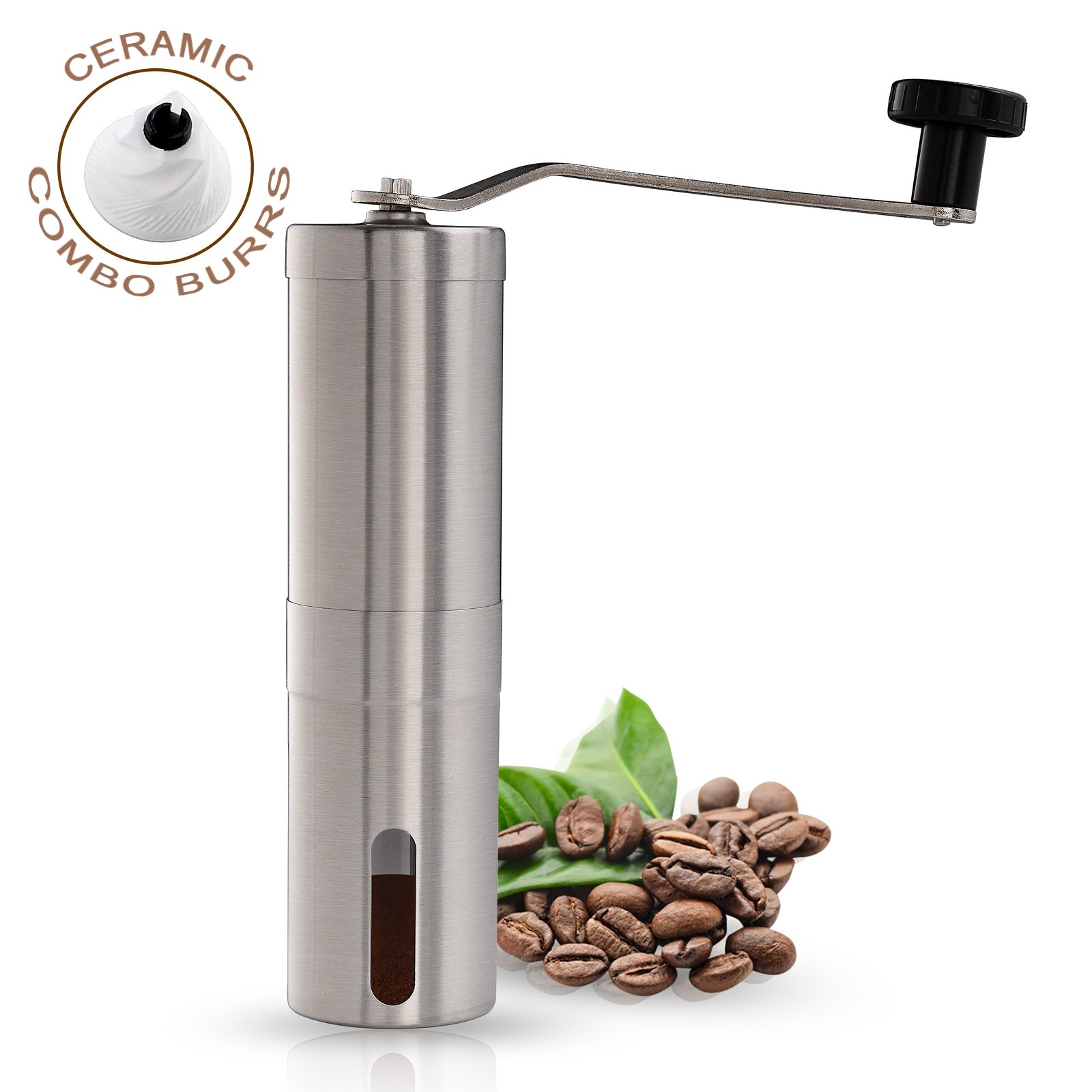 EIGSO Manual Coffee Grinder,Strongest and Heaviest Duty Portable Conical Burr Mill, Whole Bean Manual Coffee Grinder for French Press, Turkish, Handheld Mini, K Cup, Brushed Stainless Steel