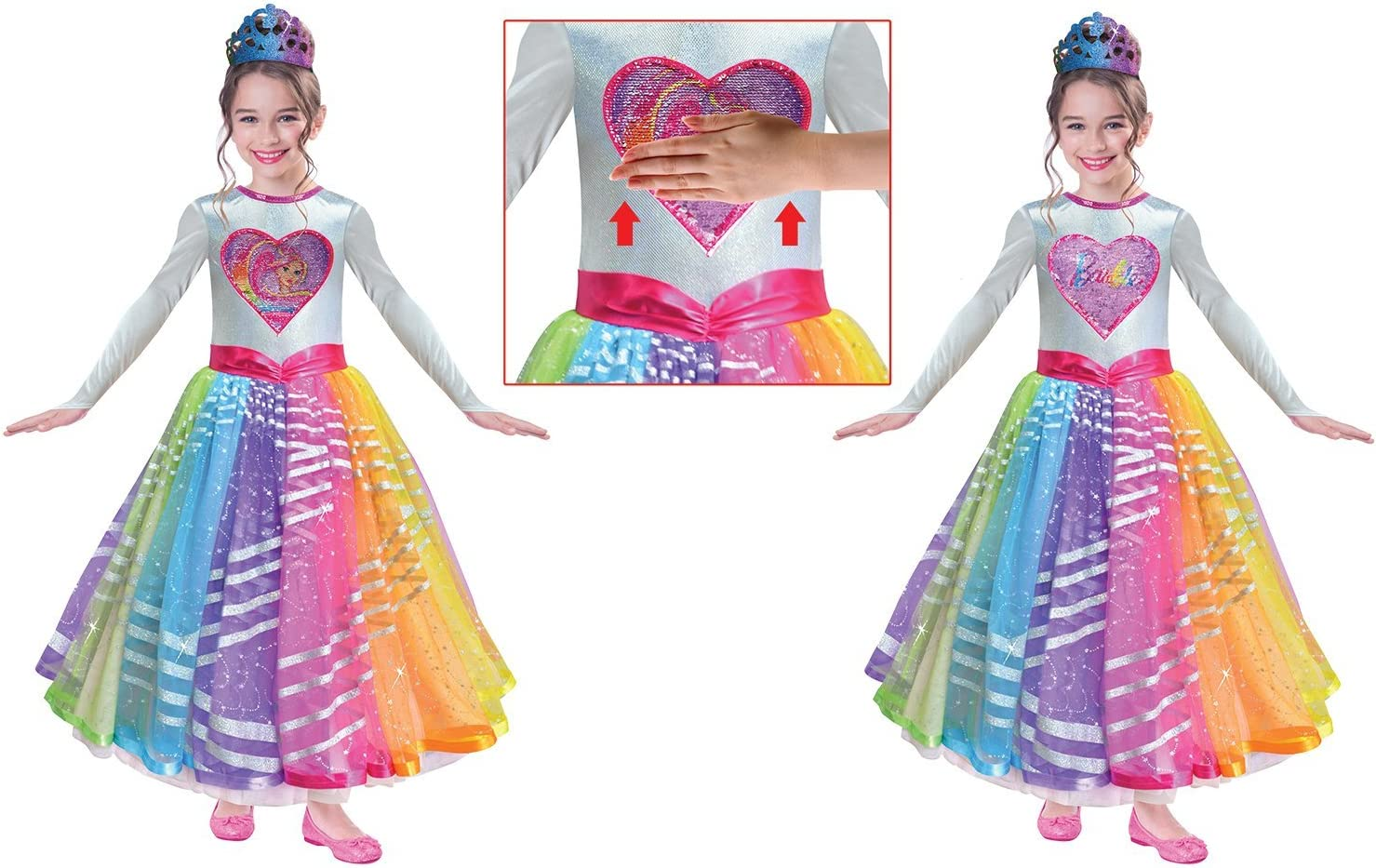 Amscan 9902624 - Disfraz de Barbie Rainbow Magic de Lujo, 8-10 ...