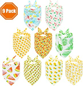 PAWCHIE Cute Dog Bandana 9 Pack Flamingo & Fruit & Hawaii Pattern Cooling Summer Style - Soft Dog Triangle Scarfs for Pet Puppy Boys & Girls