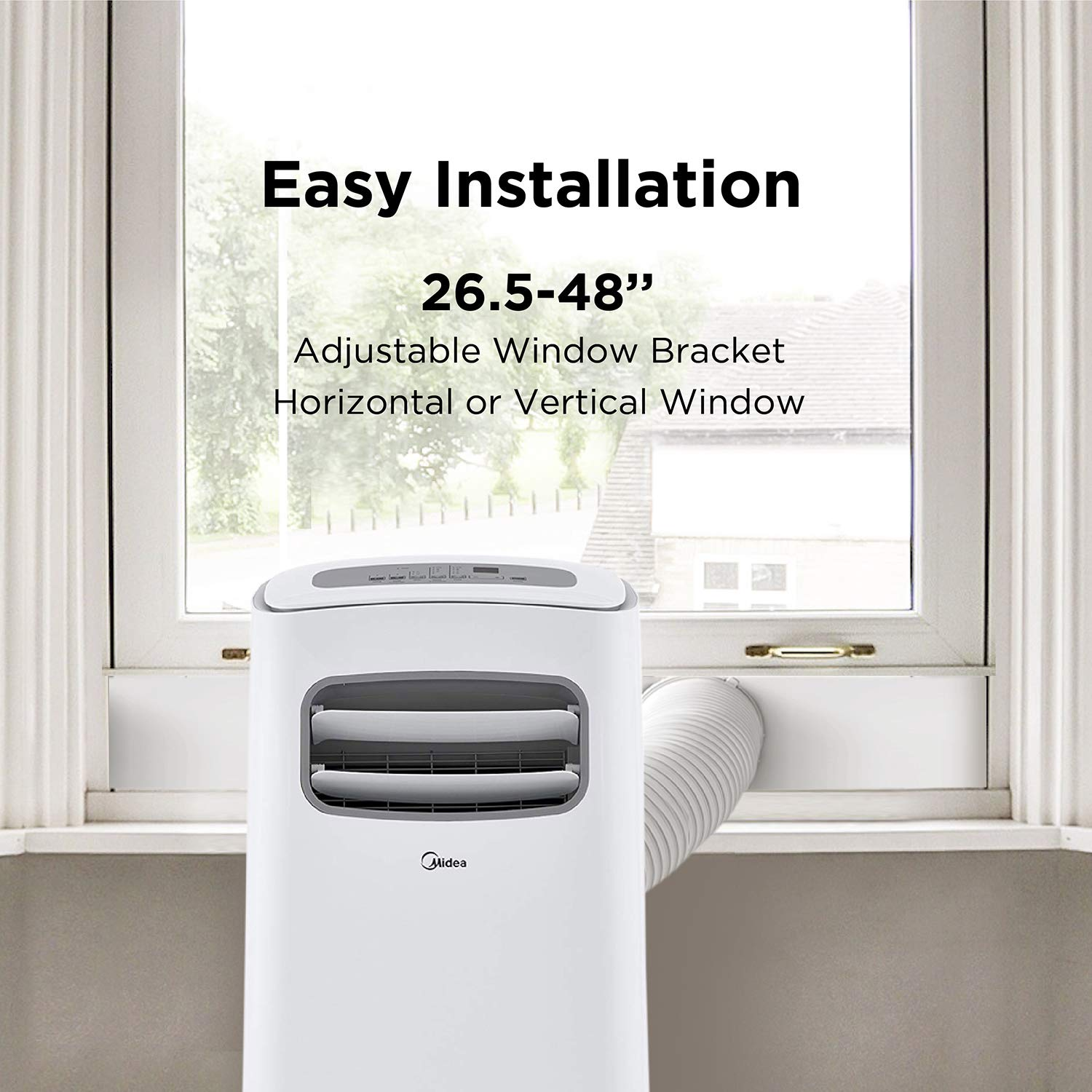 White ft for Rooms up to 100 Sq MIDEA MAP08S1BWT Portable Air Conditioner WiFi 8,000 BTU Alexa Enabled Cooling, Dehumidifier and Fan with Remote Control