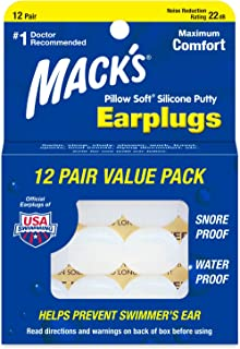 product image for Mack's Pillow Soft Silicone Earplugs - 12 Pair, The Original Moldable Silicone Putty Ear Plugs for Sleeping, Snoring, Swimming, Travel, Concerts and Studying
