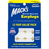 Mack's Pillow Soft Silicone Earplugs - 12 Pair, The Original Moldable Silicone Putty Ear Plugs for Sleeping, Snoring, Swimmin