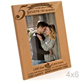 Kate Posh - 5 Years (60 Months) Anniversary - Engraved Solid Wood Picture Frame (4x6-Vertical)
