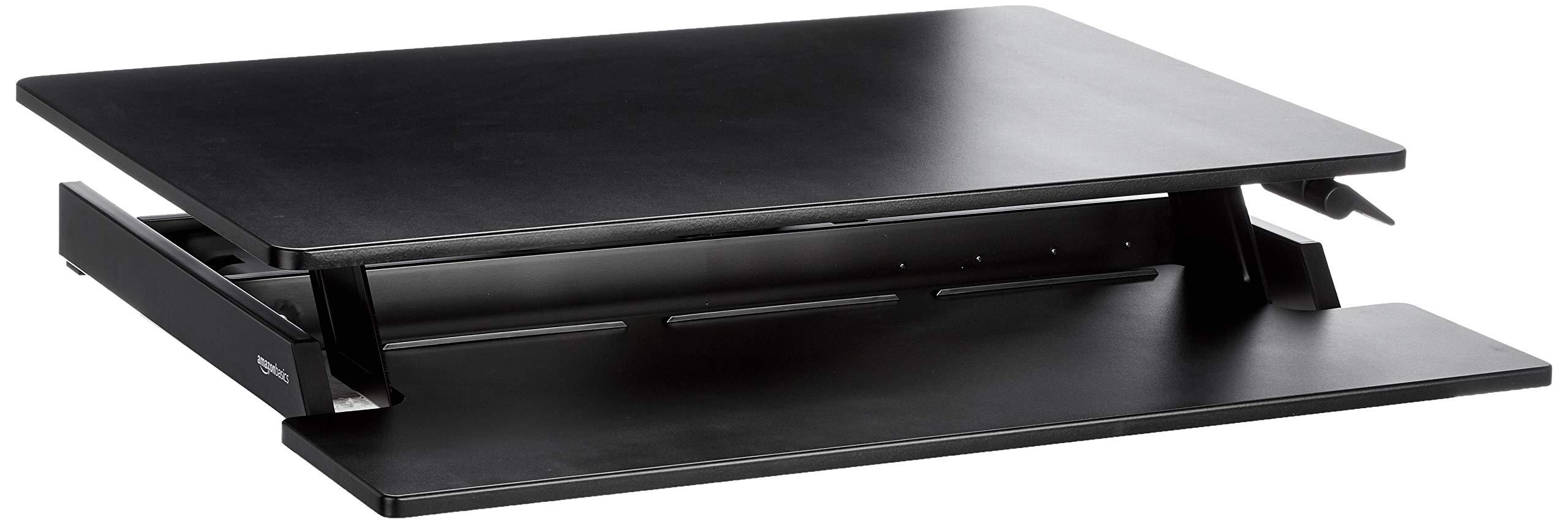 AmazonBasics Height Adjustable Standing Desk Converter with Keyboard Tray by AmazonBasics
