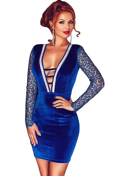 Vestido azul de terciopelo y lentejuelas, para noche, fiesta, talla 36-38