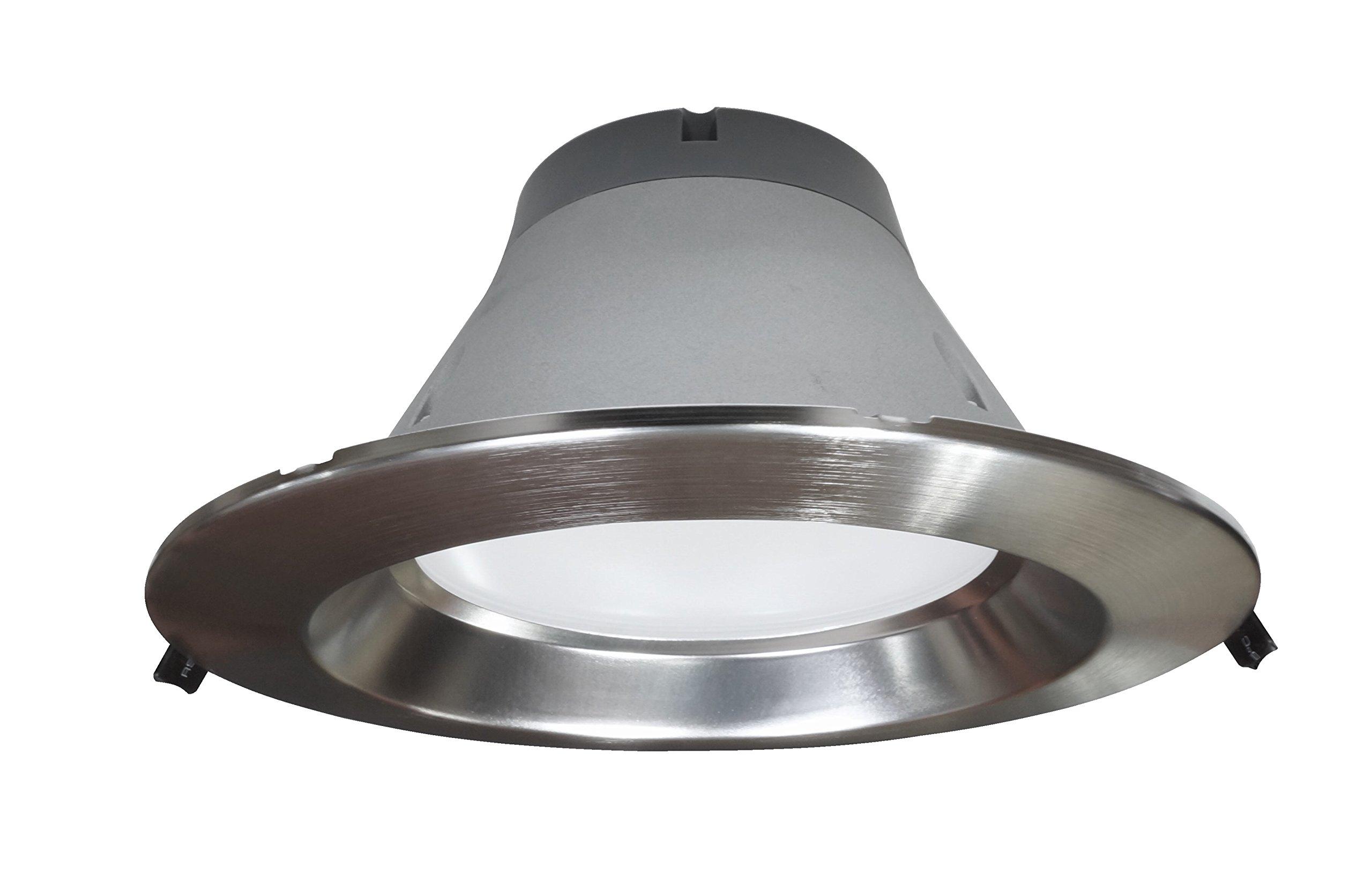 NICOR Lighting Dimmable 2300-Lumen 3500K LED Recessed Downlight, Nickel (CLR8-10-UNV-35K-NK)