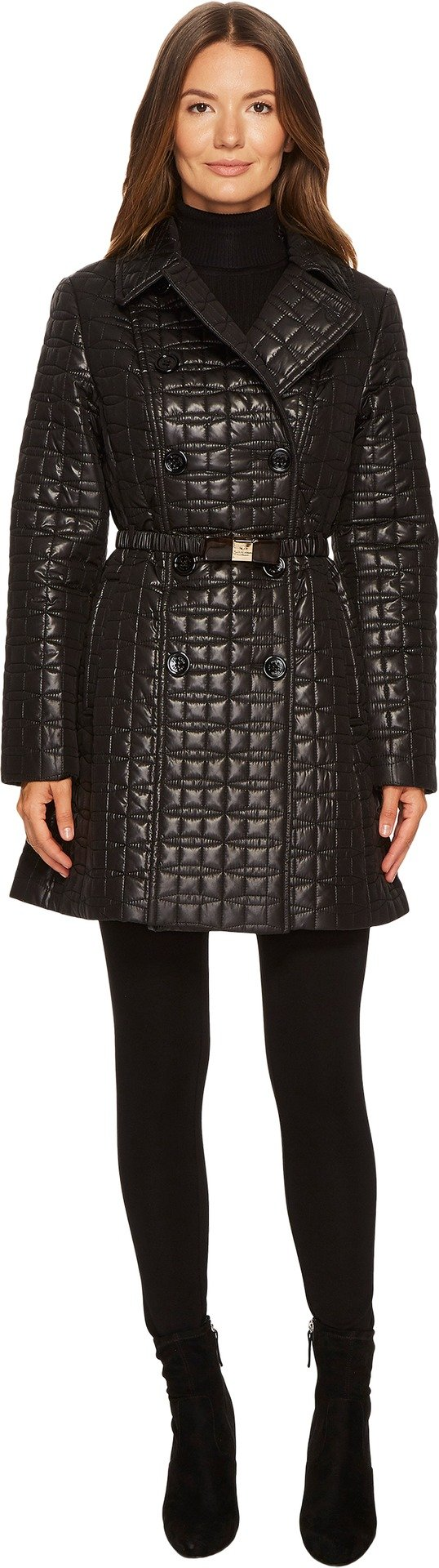Kate Spade New York Womens Quilted Tortoise Bow Buckle Double-Breasted Jacket Black SM One Size