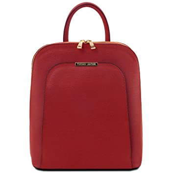 51b29b6da9 Tuscany Leather TLBag Saffiano leather backpack for women Red