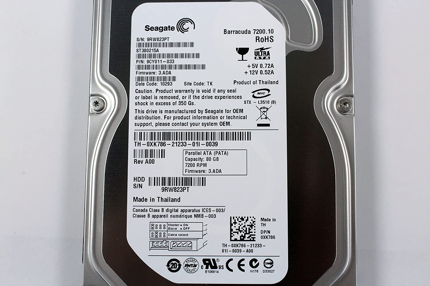 Seagate St380215a Desktop 35 80gb Ide 7200rpm Hardisk Hdd 25 Computers Accessories