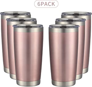 MUCHENGHY 20oz Tumbler Double Wall Stainless Steel Vacuum Insulated Travel Mug with Lid, Insulated Coffee Cup Travel Mug, 1 Straws,2 brush (Rose gold, 6)