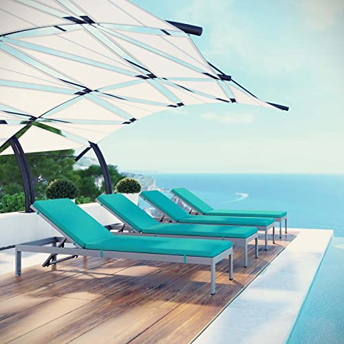 Modway Shore Aluminum Outdoor Patio Four Chaise Lounge Chairs with Cushions in Silver Turquoise