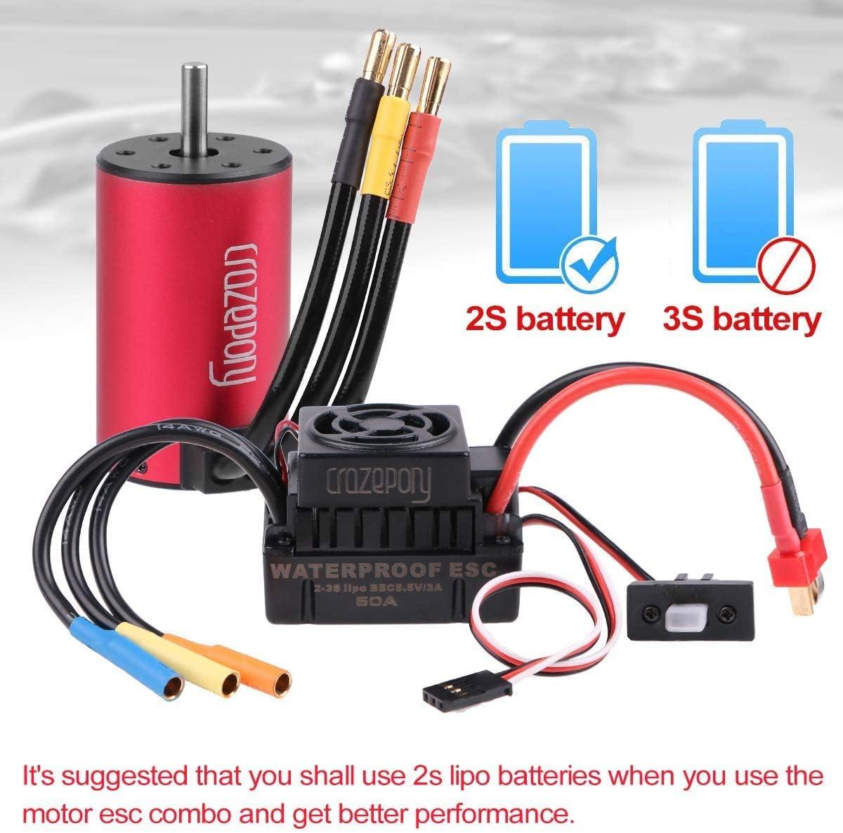 Use 2S Lipo Battery Hootracker Crazepony 3660 3800KV Sensorless Brushless Motor and 60A Brushless ESC Programming Card Motor ESC Combo for 1//10 RC Car Truck