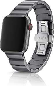 42/44mm JUUK Ligero Cosmic Grey Premium Watch Band Made for The Apple Watch, Using Aircraft Grade, Hard Anodized 6000 Series Aluminum with a Solid Stainless Steel Butterfly deployant Buckle (Matte)