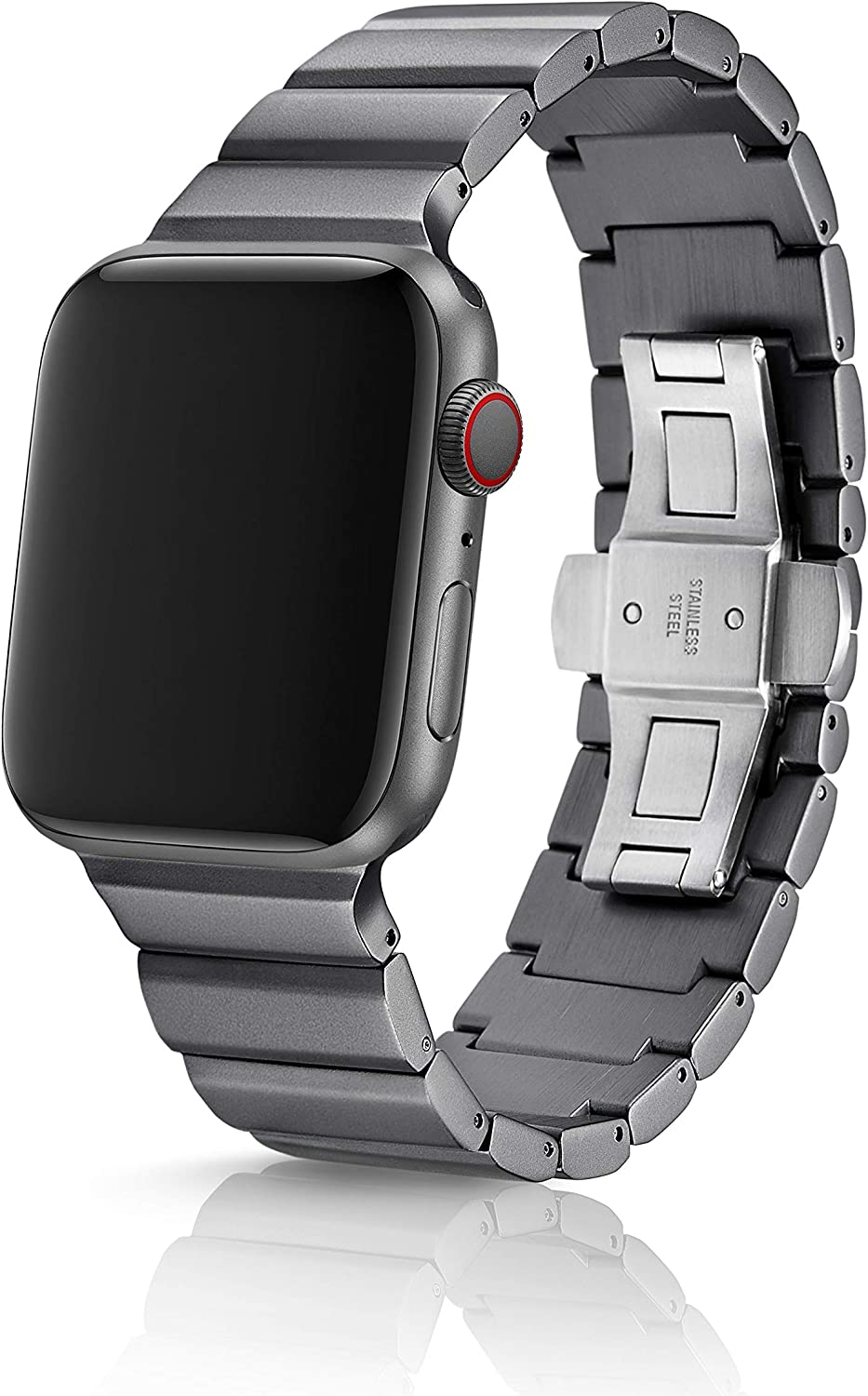 42/44mm JUUK Ligero Cosmic Grey LT Premium watch band made for the Apple Watch, using aircraft grade, hard anodized 6000 series aluminum with a solid stainless steel butterfly deployant buckle (matte)