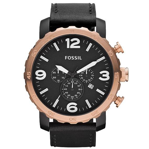 Fossil Nate JR1369 - Reloj cronógrafo de cuarzo para hombre, correa de cuero color negro