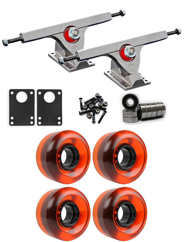 Caliber Raw Longboardトラックホイールパッケージ58 mm x 36 mm 83 a 021 Cオレンジクリア   B01IJ8HQHO