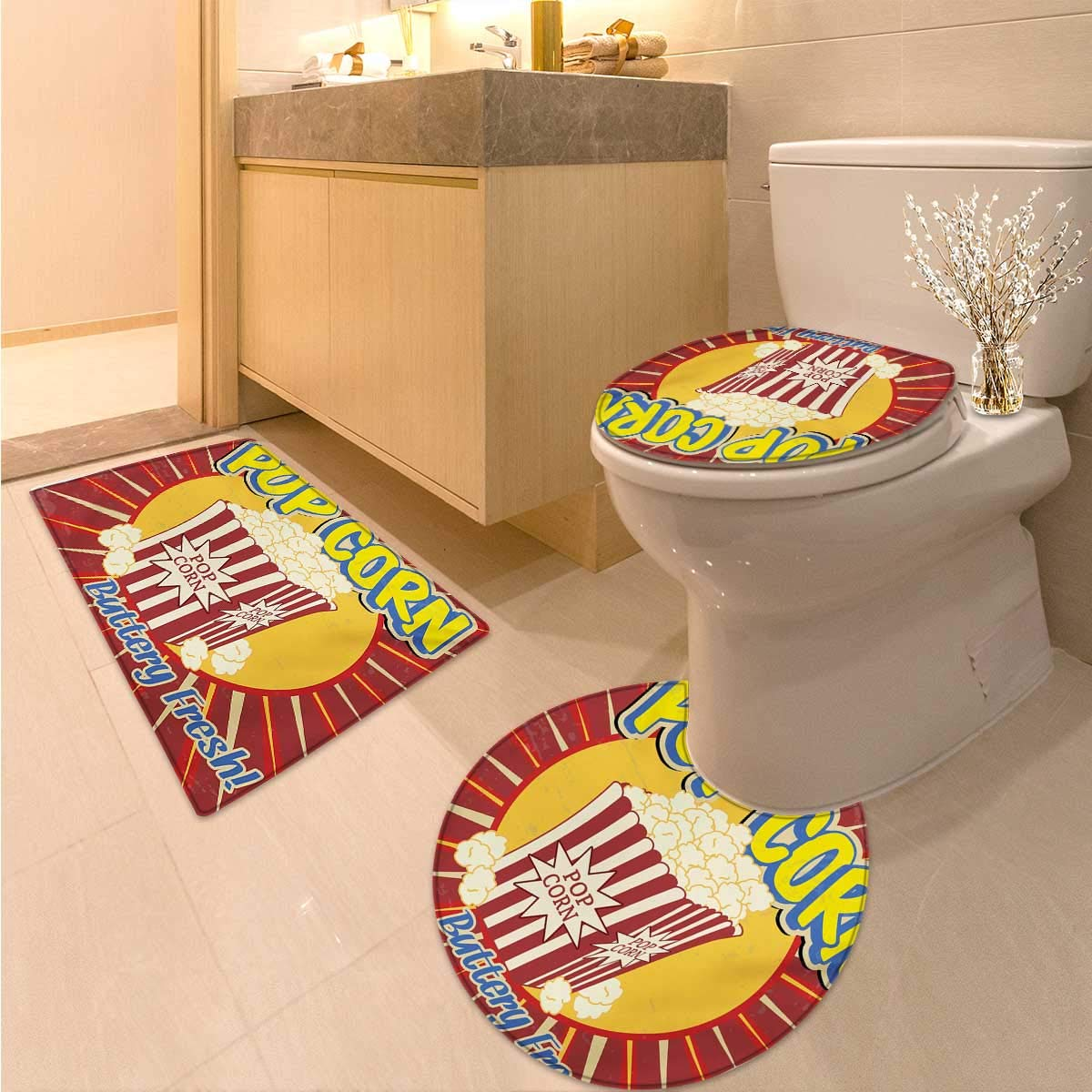 Anhuthree Retro 3 Piece Toilet mat Set Vintage Grunge Pop Corn Commercial Print Old Fashioned Cinema Movie Film Snack Artsy Elongated Toilet Lid Cover Set Multicolor