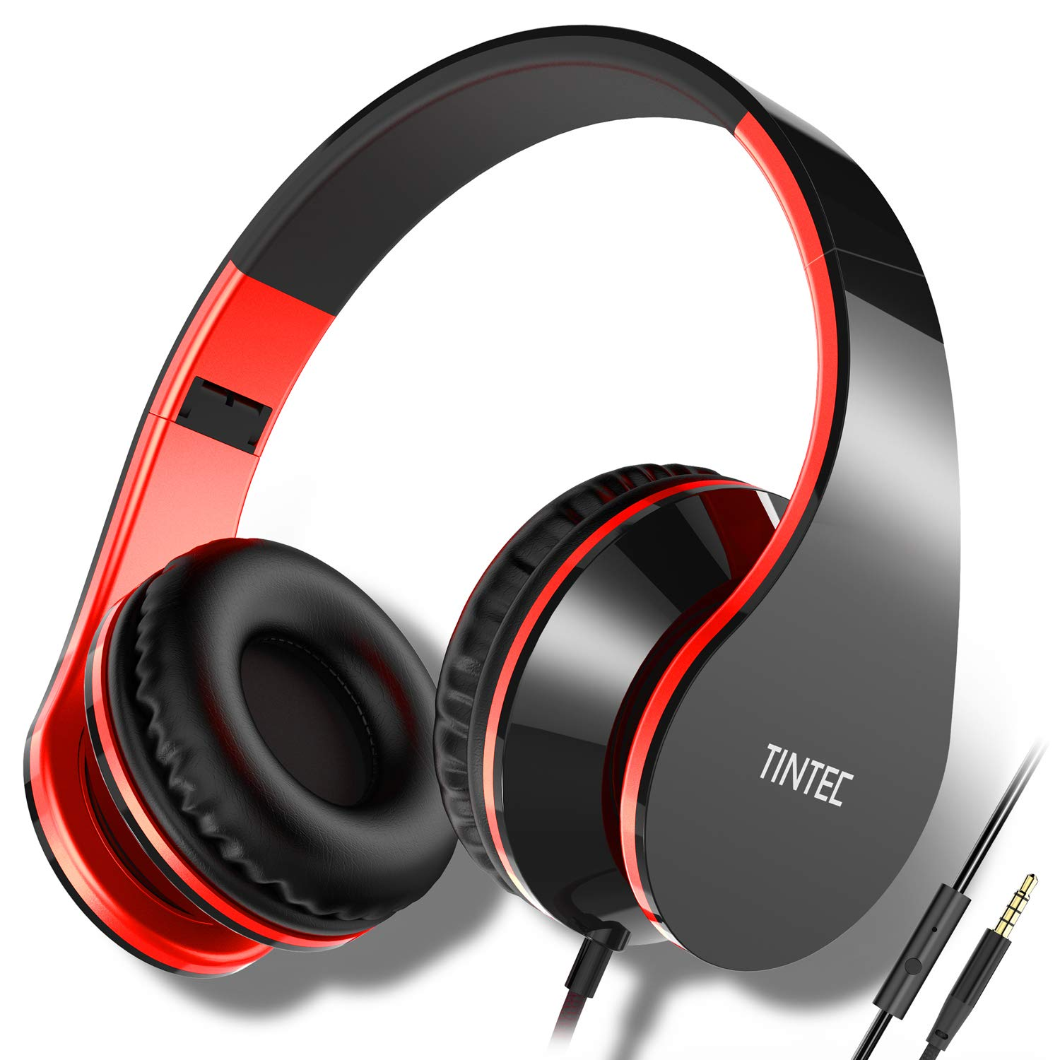 Tintec Over Ear Headphones, Wired HiFi Stereo Headset, Heavy Deep Bass, Folding Lightweight, Noise Isolation, with Built-in Mic for iPhone, iPad, Smartphone, Laptop