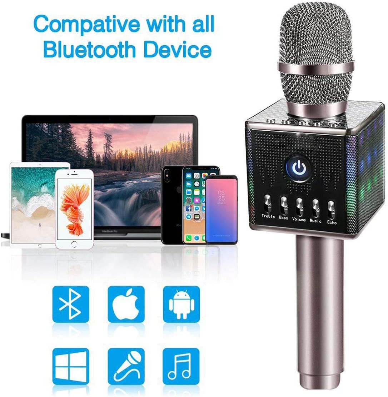 FidgetFidget Karaoke Micrófono Inalámbrico Bluetooth Altavoz Micrófono LED Luces para Smart TV KTV: Amazon.es: Instrumentos musicales
