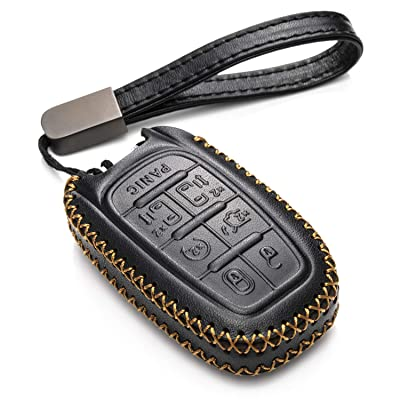 Vitodeco Genuine Leather Smart Key Fob Case Cover Protector with Leather Key Chain for 2020-2020 Chrysler Pacifica (7-Button, Black): Automotive