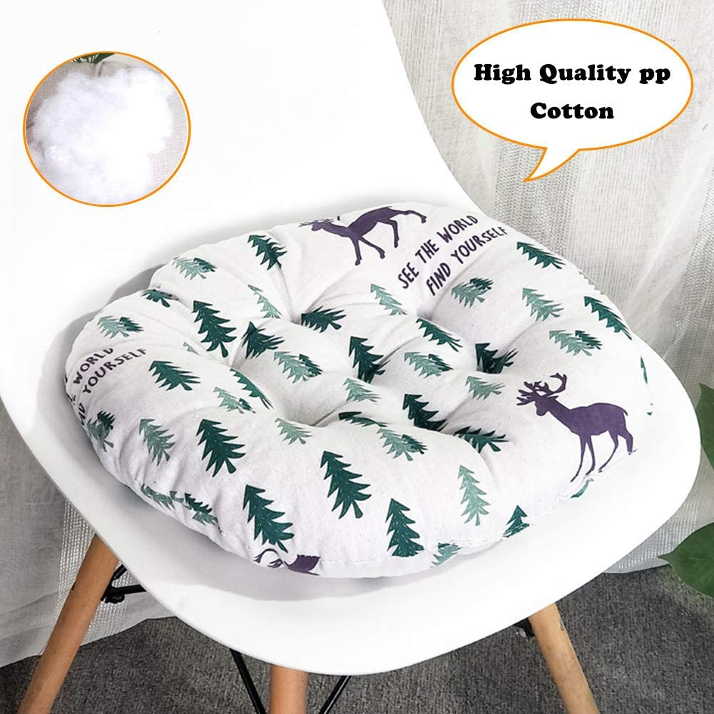 Fansu Round Chair Cushions Blue Cat,40/×40/×9cm Animal Print Linen Cushion Seat Pads Seat Cushion Comfortable Thick Decorative Floor for Home Garden Sofa Kitchen Dining Office