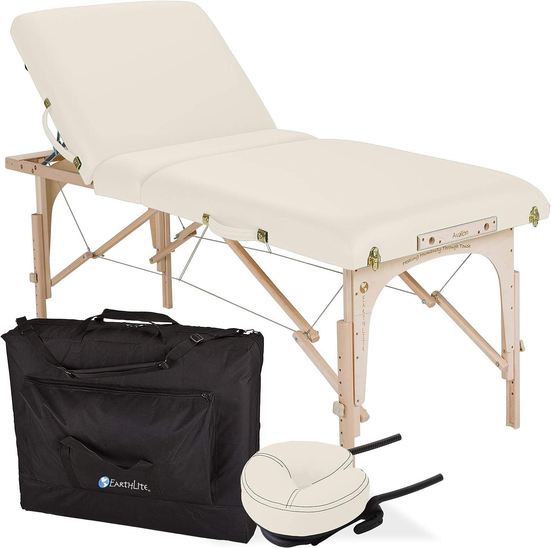 "EARTHLITE Portable Massage Table Package AVALON TILT – Foldable Treatment Table with Tilt Option, Reiki Endplate, Premium Flex-Rest Face Cradle & Strata Cushion, Carry Case (30""x73""): Sports & Outdoors"