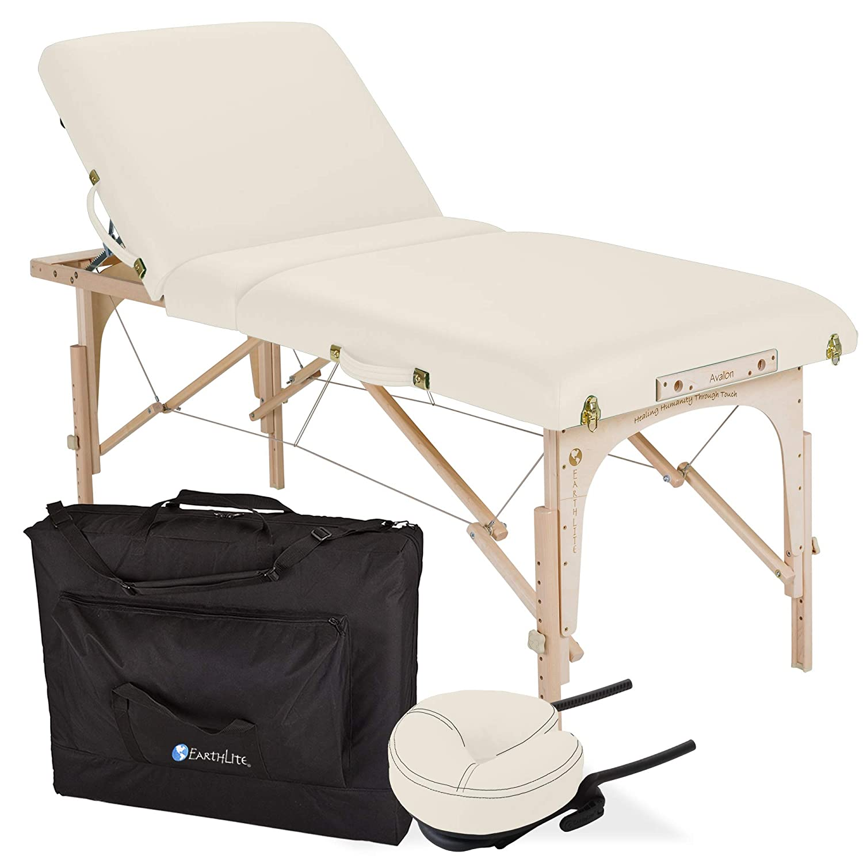 EARTHLITE Portable Massage Table Package AVALON Reiki Endplate, Premium Flex-Rest Face Cradle Strata Cushion, Carry Case 30 x73