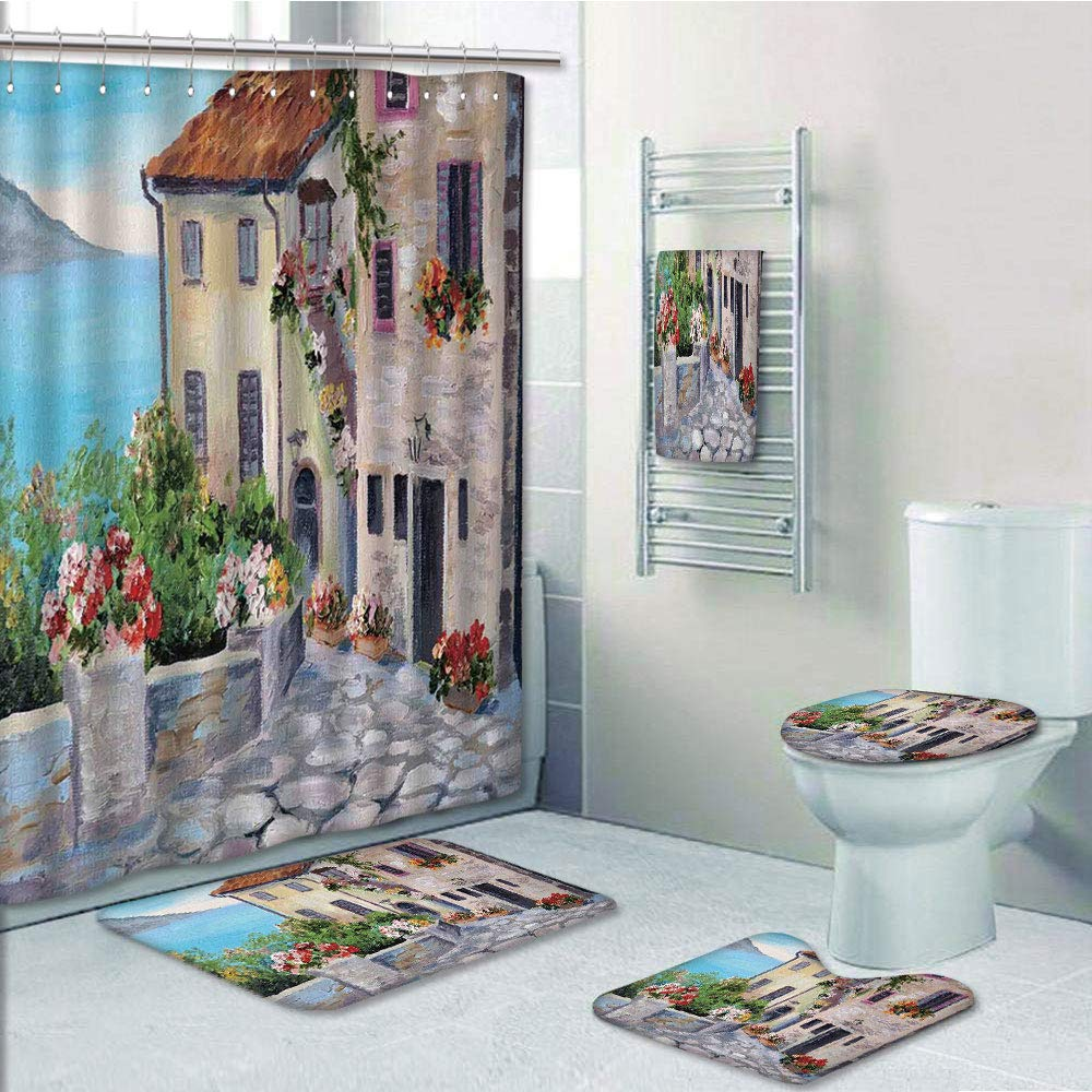 Bathroom 5 Piece Set Shower Curtain 3D Print Customized,Rustic,Old Houses in a Small Town Sea and Flower Pots at Windows Oil Painting Style,Beige Light Blue,Bath Mat,Bathroom Carpet Rug,Non-Slip,Bath