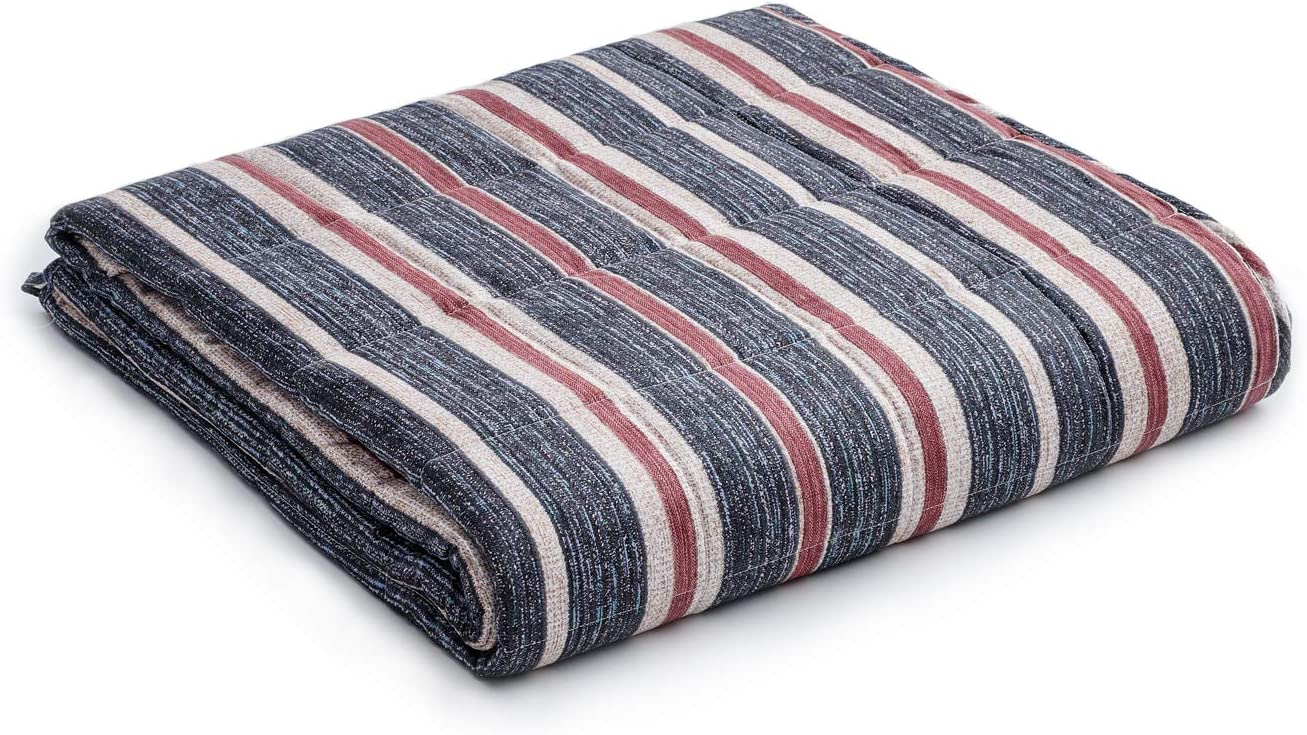 YnM Weighted Blanket — Heavy 100% Oeko-Tex Certified Cotton Material with Premium Glass Beads (Red Blue, 60''x80'' 25lbs), Suit for One Person(~240lb) Use on Queen/King Bed