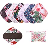 6 Pieces Set Including 1 Piece Mini Wet Bag +1 Pieces 8 Inch Charcoal Bamboo Panty Liner Mama Cloth Menstrual Pads Reusable Sanitary Pads