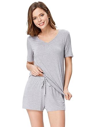 b3f7debb3a Zexxxy Women s Pajama Set Striped Pajama Set Short Sleeve Sleepwear Soft  Loungewear S